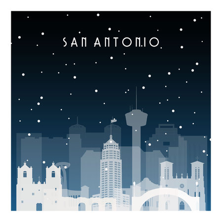 Winter night in San Antonio. Night city in flat style for banner, poster, illustration, background.