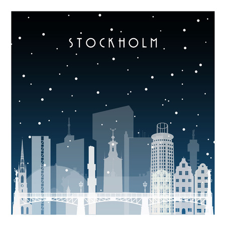 Winter night in Stockholm. Night city in flat style for banner, poster, illustration, background.