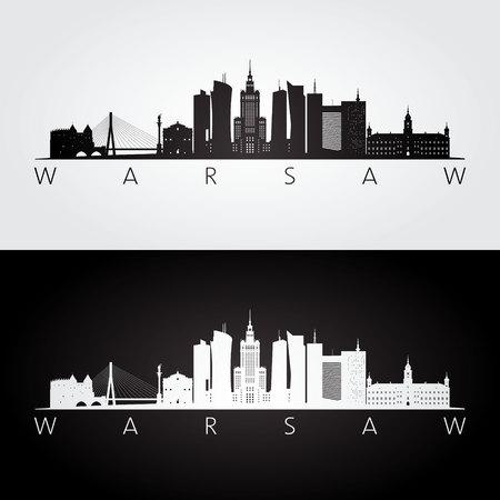 De horizon en de oriëntatiepuntensilhouet van Warshau, zwart-wit ontwerp, vectorillustratie. Stock Illustratie