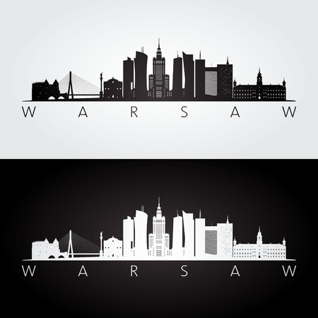 Warsaw skyline and landmarks silhouette, black and white design, vector illustration. Vettoriali