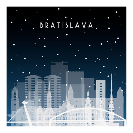 Winter night in Bratislava. Night city in flat style for banner, poster, illustration, background.