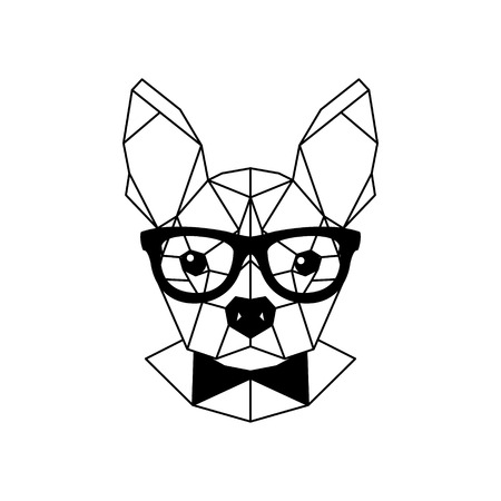 Geometric portrait of a French bulldog wearing glasses and a bow tie. Vector illustration. Vettoriali