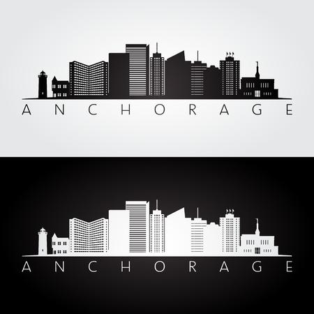 Anchorage usa skyline and landmarks silhouette, black and white design, vector illustration. 일러스트