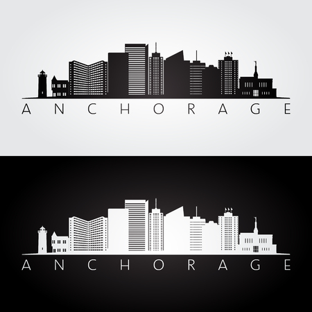 Anchorage usa skyline and landmarks silhouette, black and white design, vector illustration. Illusztráció