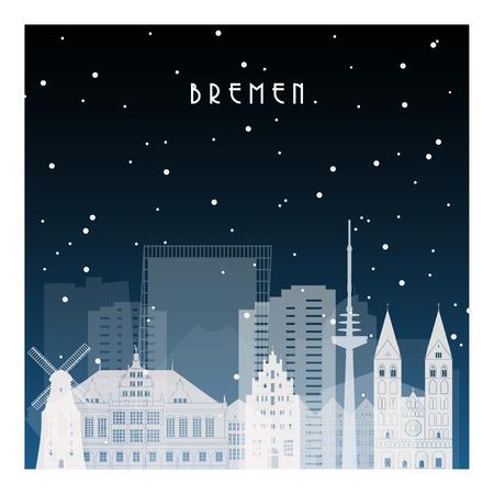 Winternacht in Bremen. Nachtstad in vlakke stijl voor banner, affiche, illustratie, achtergrond.