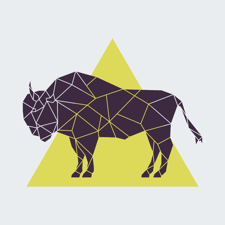 Abstract polygonal geometric buffalo. Side view. Vector illustration created from triangles.