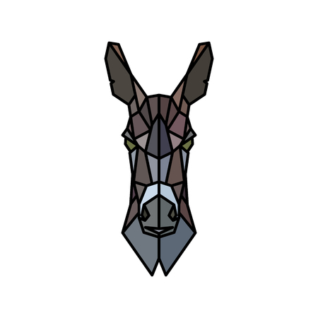 Portrait of an ass. Polygonal style. Vector illustration.