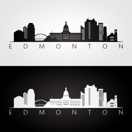 Edmonton skyline and landmarks silhouette, black and white design, vector illustration.