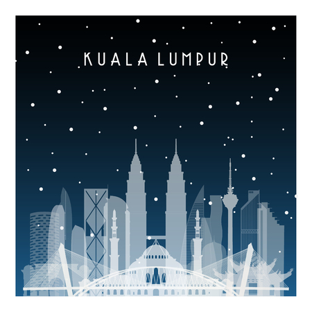 Winter night in Kuala Lumpur. Night city in flat style for banner, poster, illustration, background.