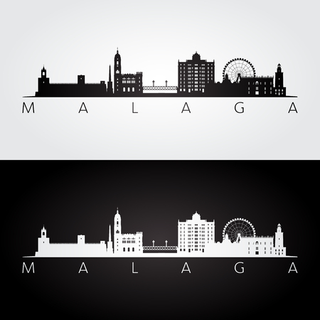 Malaga skyline and landmarks silhouette, black and white design, vector illustration.