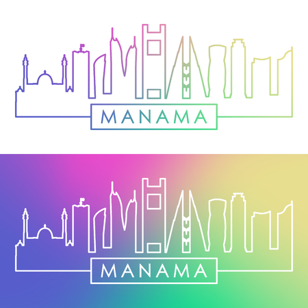 Manama skyline. Colorful linear style. Editable vector file. Ilustracja