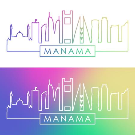 Manama skyline. Colorful linear style. Editable vector file. Illustration