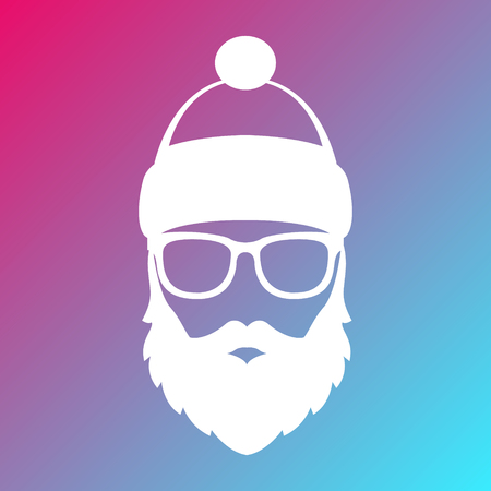 Icon of Santa Claus. White silhouette on colorful background. Vector illustration.