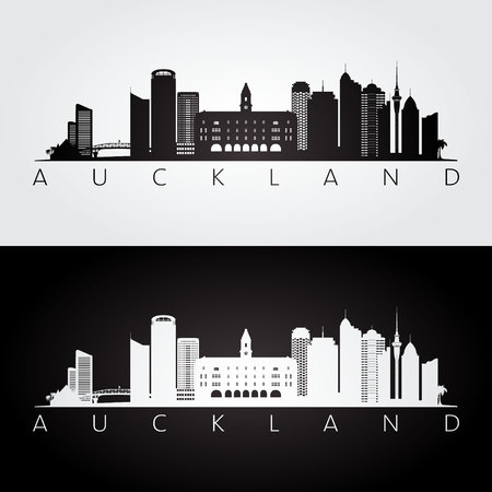 Auckland skyline and landmarks silhouette, black and white design, vector illustration. 일러스트