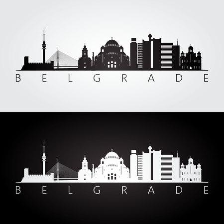 Belgrade skyline and landmarks silhouette, black and white design, vector illustration.