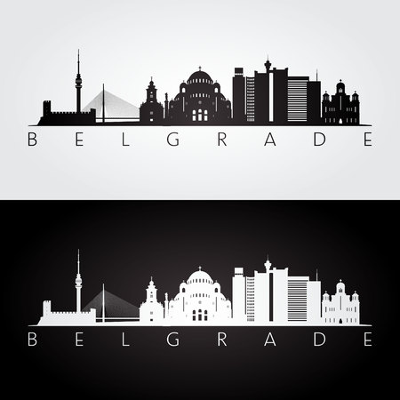 Belgrade skyline and landmarks silhouette, black and white design, vector illustration.