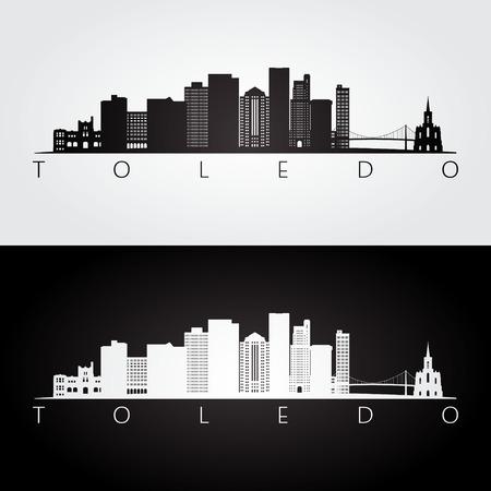 De horizon van Toledo de VS en oriëntatiepuntensilhouet, zwart-wit ontwerp, vectorillustratie.