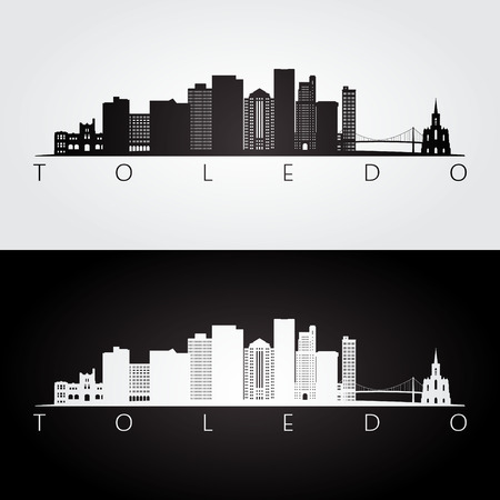 Toledo usa skyline and landmarks silhouette, black and white design, vector illustration. 矢量图像