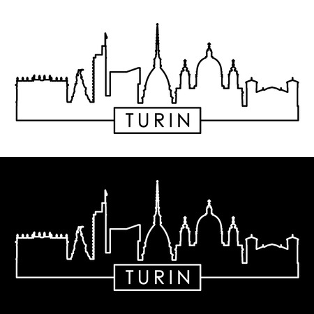 Turin skyline. Linear style. Editable vector file.