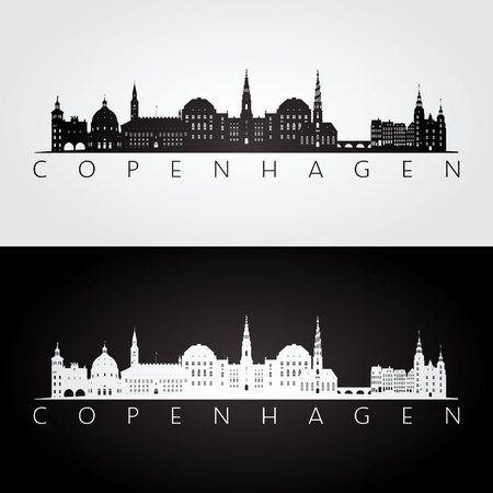 Copenhagen skyline and landmarks silhouette, black and white design, vector illustration.