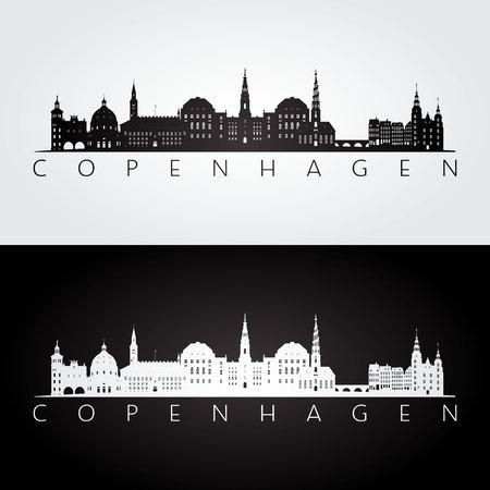 Skyline van Kopenhagen en oriëntatiepunten silhouet, zwart en wit ontwerp, vectorillustratie. Stock Illustratie