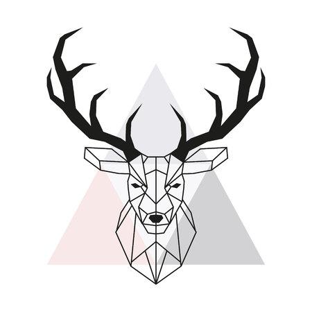 ベクトル幾何学的鹿の頭。スタッグヘッドとアントラーズ。低ポリスタイルの動物の図面。ベクトルイラスト。  イラスト・ベクター素材