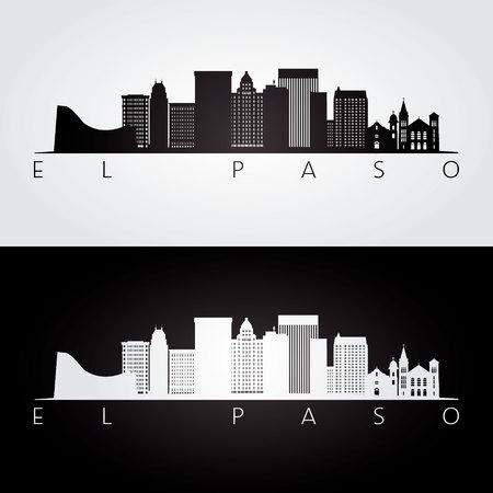 El Paso usa skyline and landmarks silhouette, black and white design, vector illustration. Stock Illustratie
