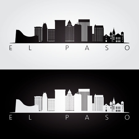 El Paso usa skyline and landmarks silhouette, black and white design, vector illustration. 矢量图像