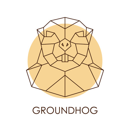 Geometric abstract groundhog head. Wild animal. Vector illustration.