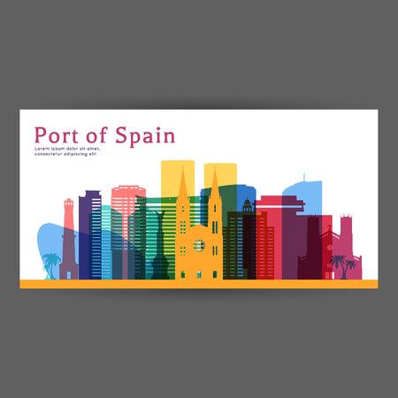 포트 스페인 화려한 아키텍처 벡터 일러스트 레이 션, 스카이 라인 도시 실루엣, 마천루, 평면 디자인.