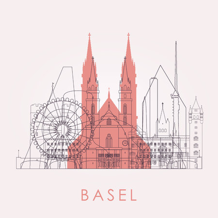 Outline Basel skyline with landmarks. Vector illustration. Business travel and tourism concept with historic buildings. Image for presentation, banner, placard and web site.