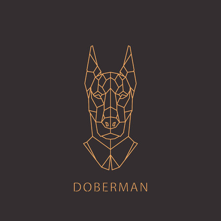 Doberman dog in geometric modern style. Vector illustration.