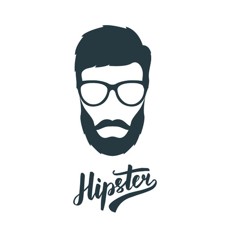 Hipster face with retro glasses. Hipster avatar. Vector illustration.   イラスト・ベクター素材