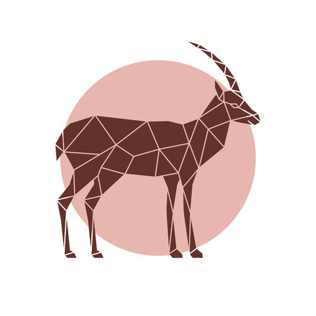 Polygonal illustration of a antelope. Geometric wild animal.