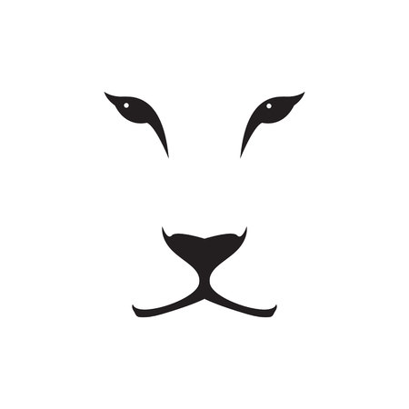 Vector image of a lioness head on white background. Vettoriali