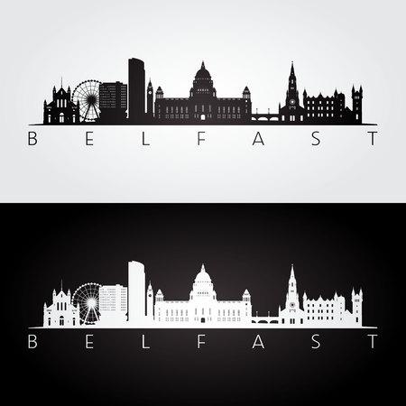 ●ベルファストのスカイラインとランドマークのシルエット、黒と白のデザイン、ベクトルイラスト。