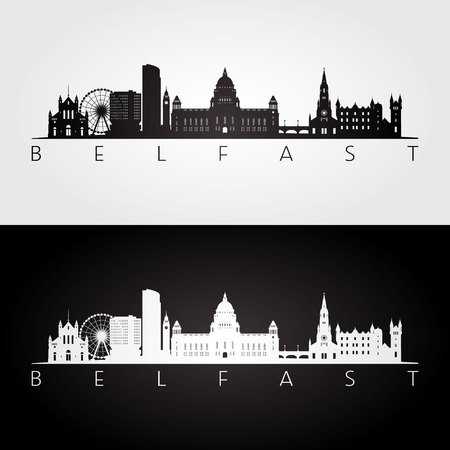 Belfast skyline and landmarks silhouette, black and white design, vector illustration.