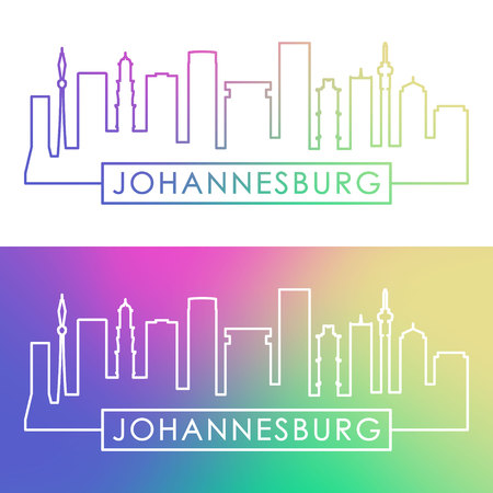 Johannesburg skyline. Colorful linear style. Editable vector file.