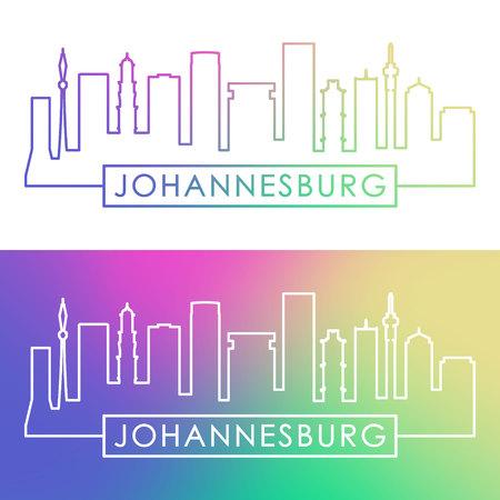 Johannesburg skyline. Colorful linear style. Editable vector file.