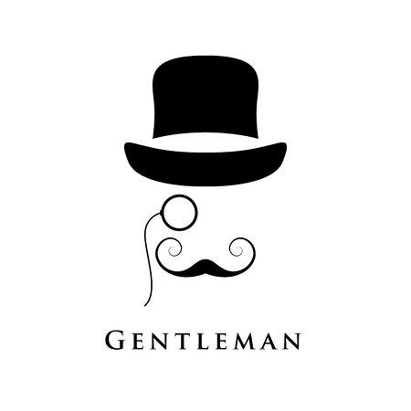 Rétro gentleman avec chapeau, un oculaire et une belle moustache. Illustration vectorielle