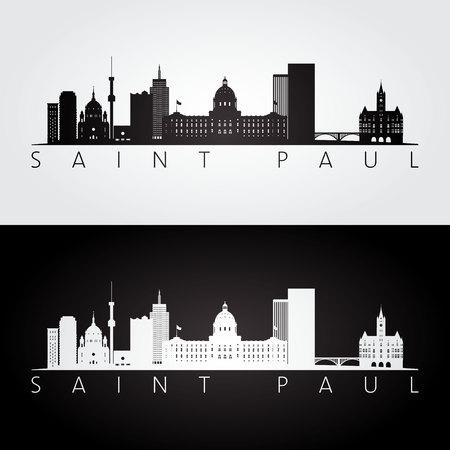 Saint Paul, USA skyline and landmarks silhouette, black and white design, vector illustration.