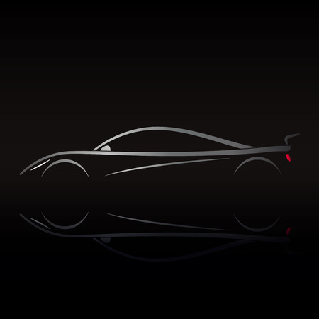Sports car design on black background with reflection. Illustration