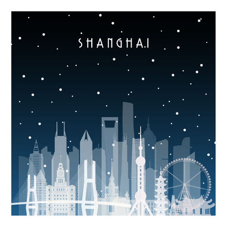 Winter night in Shanghai. Night city in flat style for banner, poster, illustration, background. Vectores