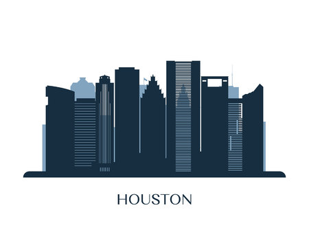 Houston skyline, monochrome silhouette. Vector illustration. Illustration