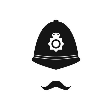 British policeman in helmet. Police avatar. Vector illustration. Vectores