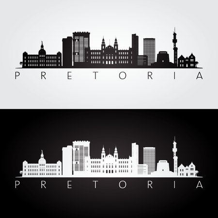 Pretoria skyline and landmarks silhouette, black and white design, vector illustration.