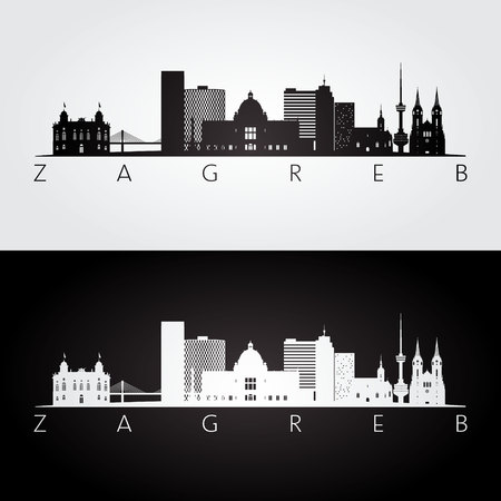 Zagreb skyline and landmarks silhouette, black and white design, vector illustration.