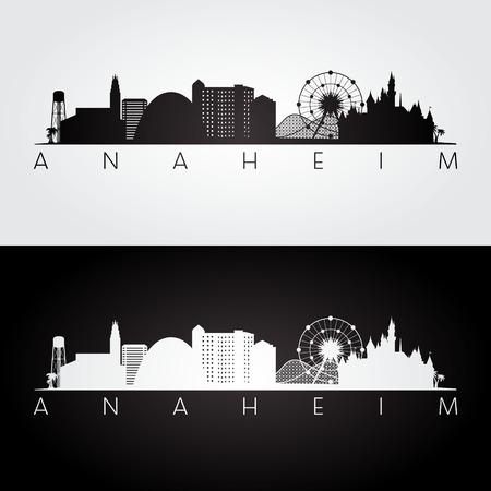 Anaheim usa skyline and landmarks silhouette, black and white design, vector illustration. Stock Illustratie