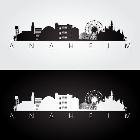 Anaheim usa skyline and landmarks silhouette, black and white design, vector illustration. Illustration