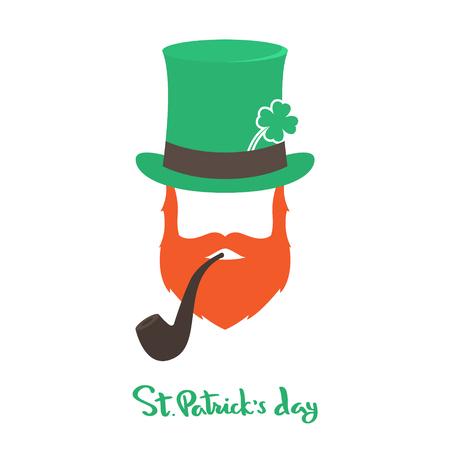 Happy Saint Patrick's Day card with face Irishman. Illustration